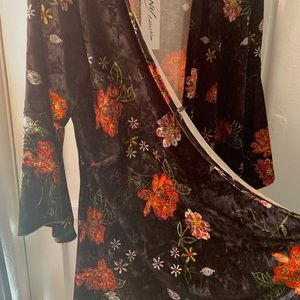 NEW Floral suede long cardigan